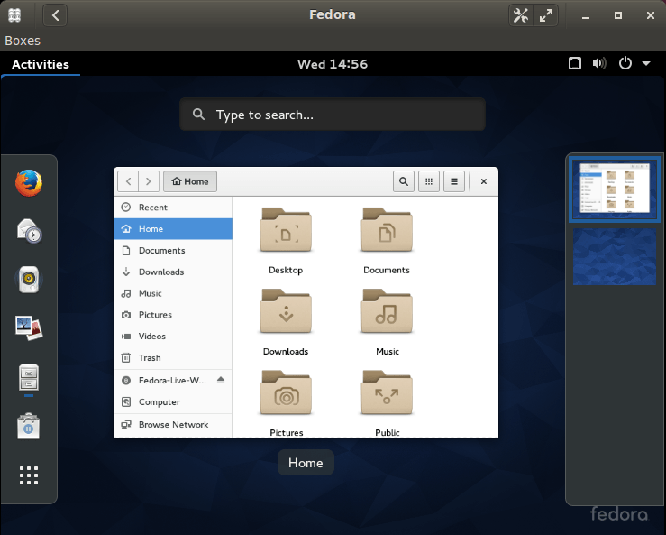 Fedora is now up and running