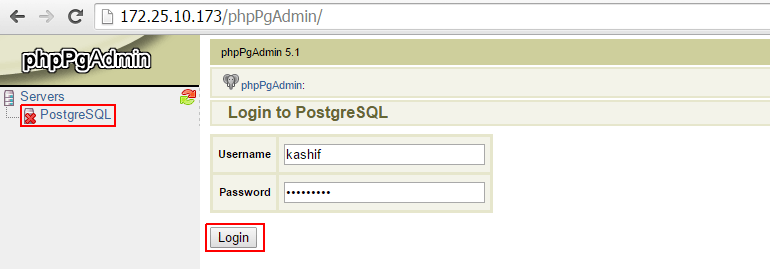 PostgreSQL Web Login