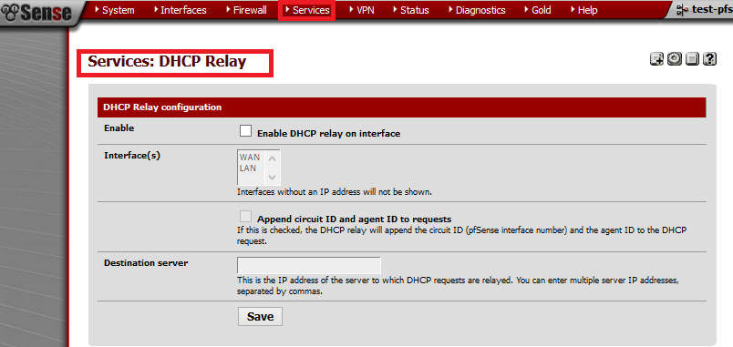services-dhcp relay