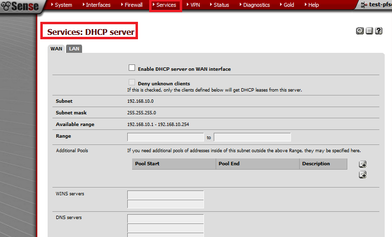 services-dhcp server