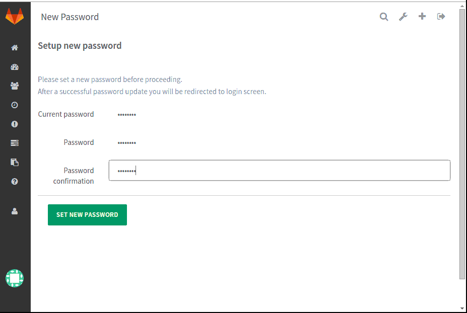 Setting New Password Gitlab