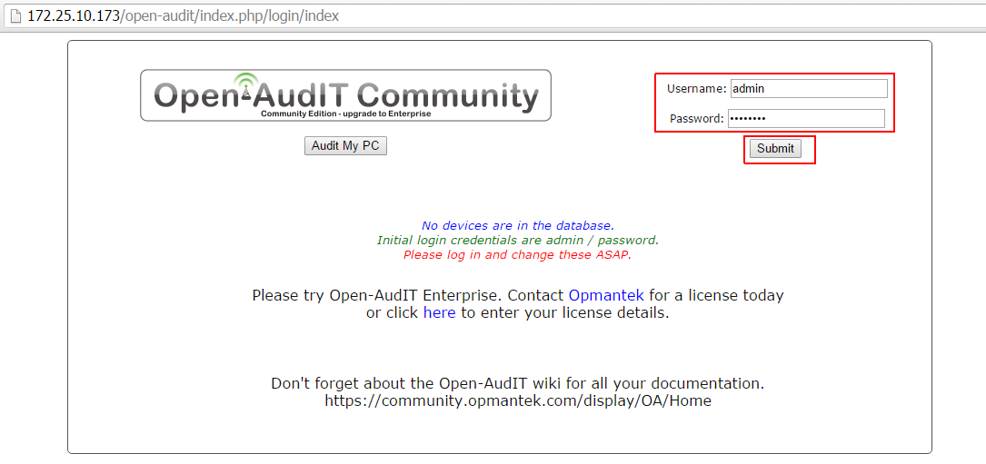 Open Audit Login