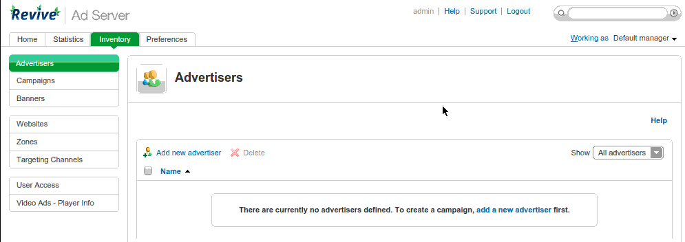 Revive Adserver Advertisers Page