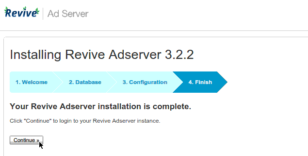 Revive Adserver Installation Finished