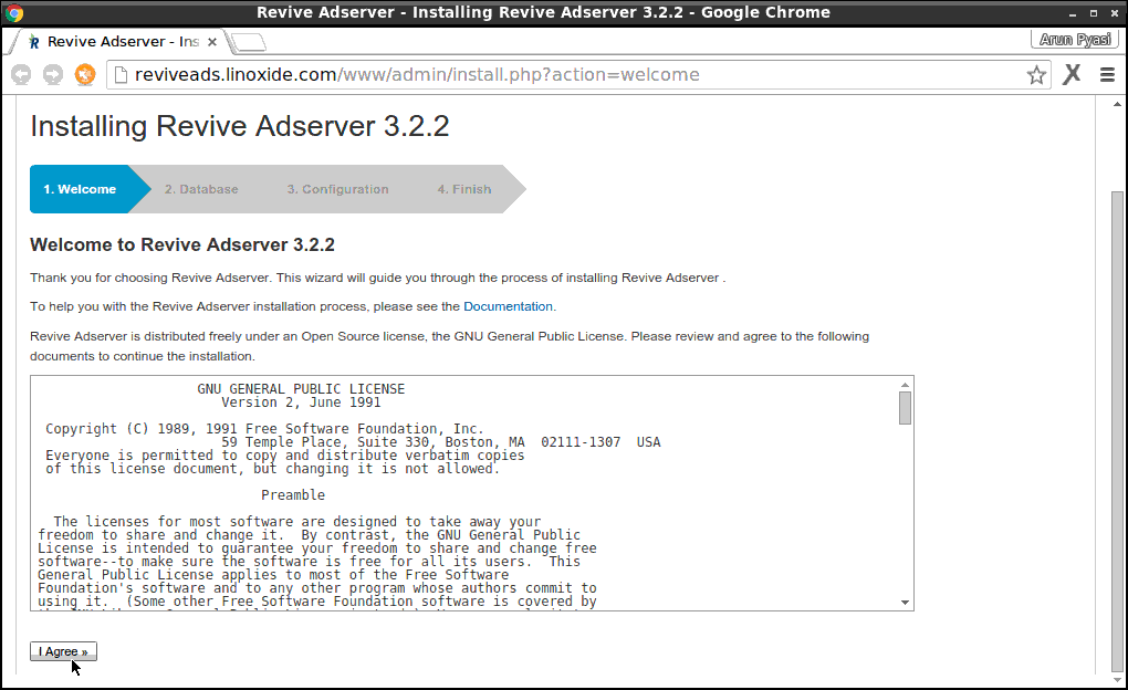 Revive Adserver Web Installation Welcome