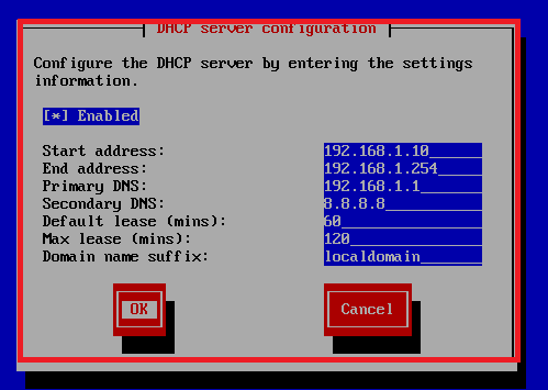 dhcp server on green side configuraiton