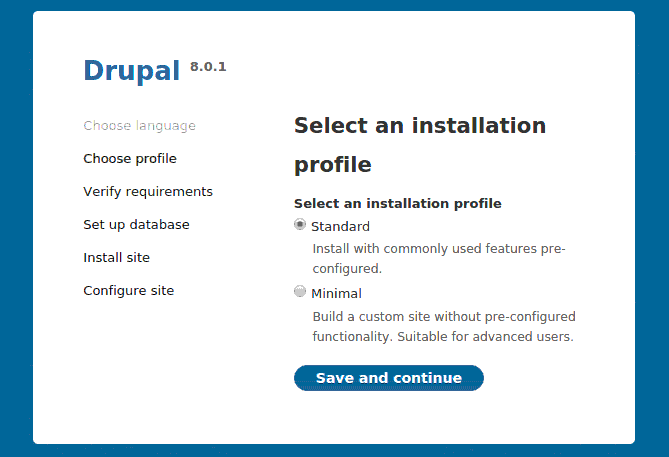 Choose Installation Profile