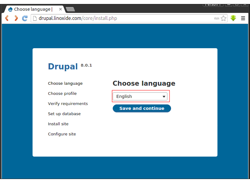 Choosing Language Web Installation