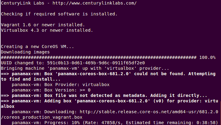 Downloading CoreOS Vagrant Box