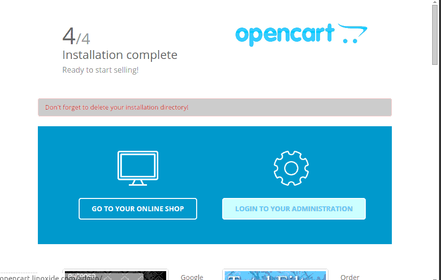 Installation Complete OpenCart