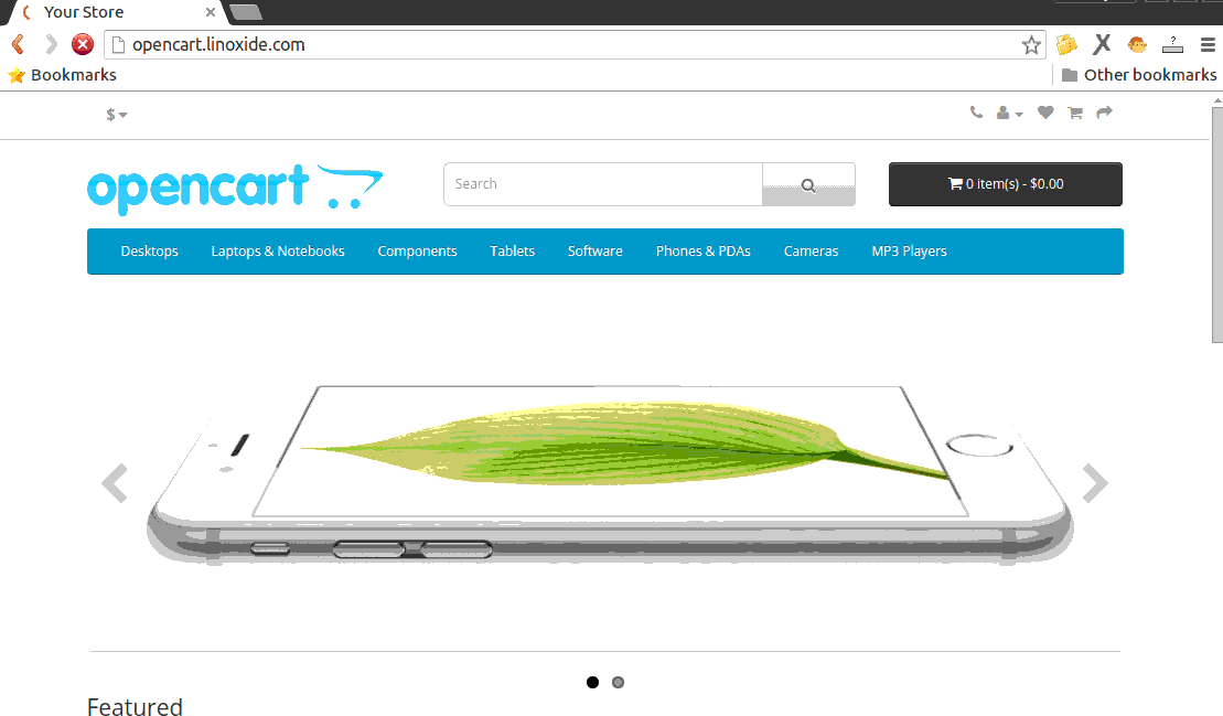OpenCart Store Page