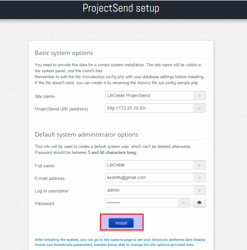 ProjectSend Web settings