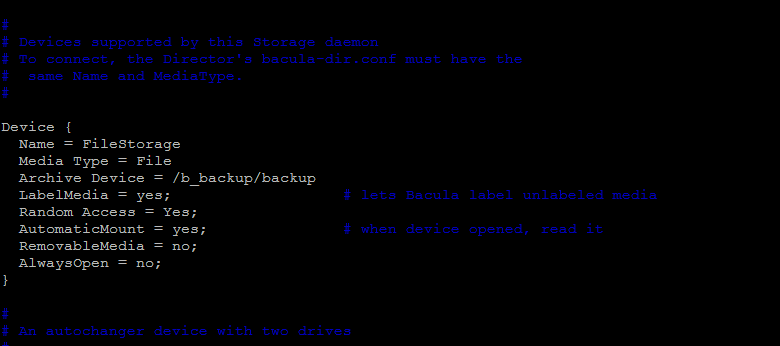 bacula storage daemon