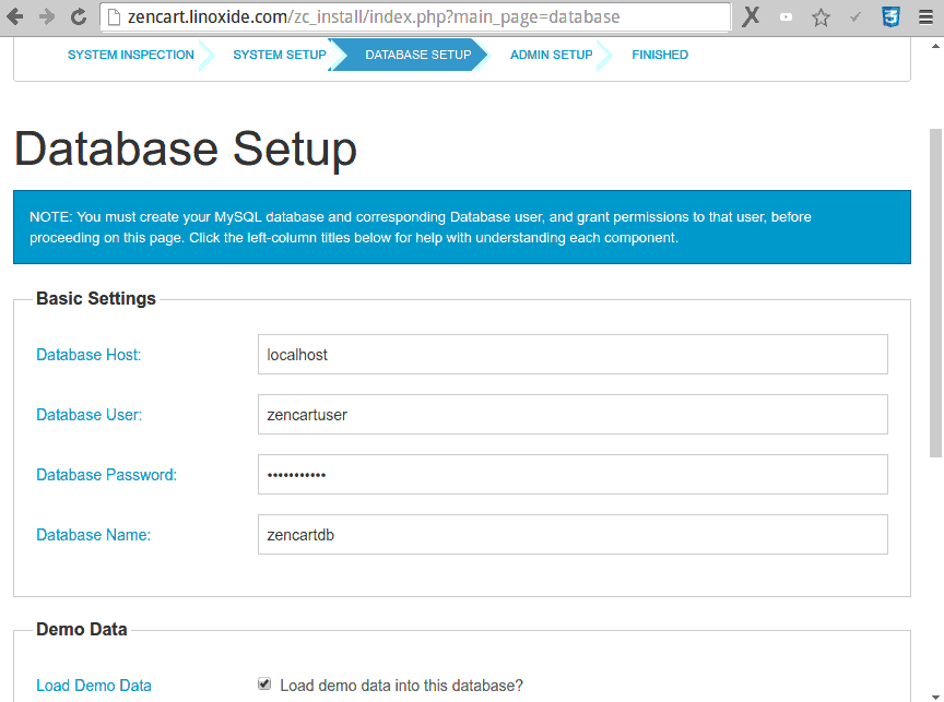 Zencart Database Configuration