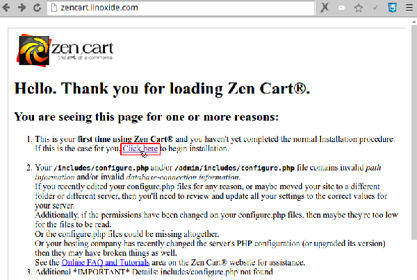 Starting ZenCart Web Installation
