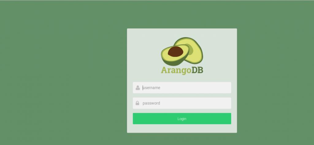 ArangoDb login screen