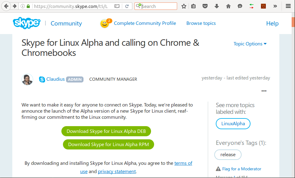 Skype Alpha for Linux Announcement Page