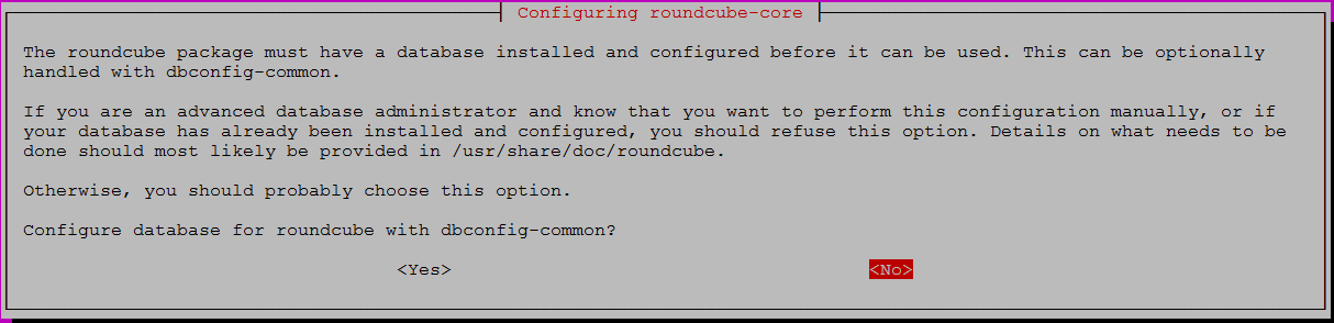 roundcube-core config