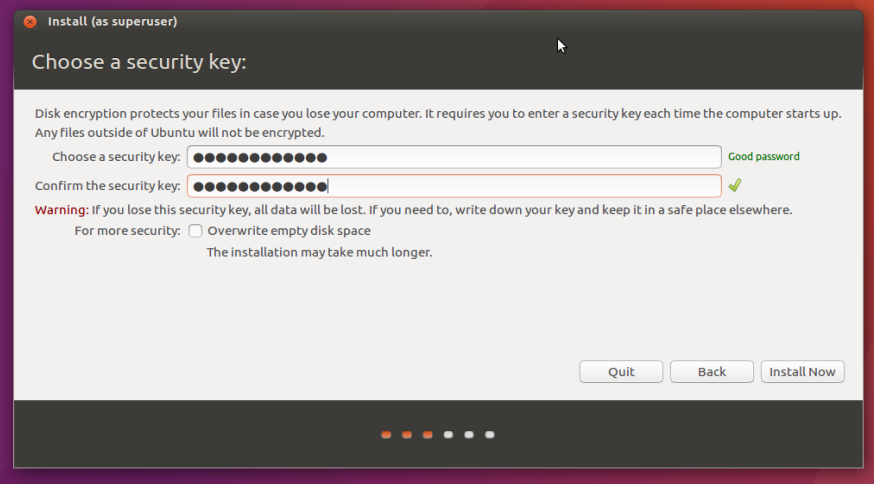 encryption password setting