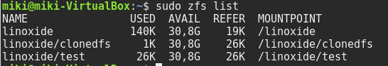zfs list command