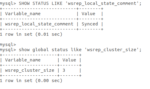 test status of wsrep cluster