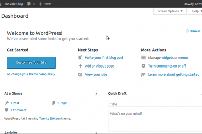 Wordpress Dashboard FreeBSD 11