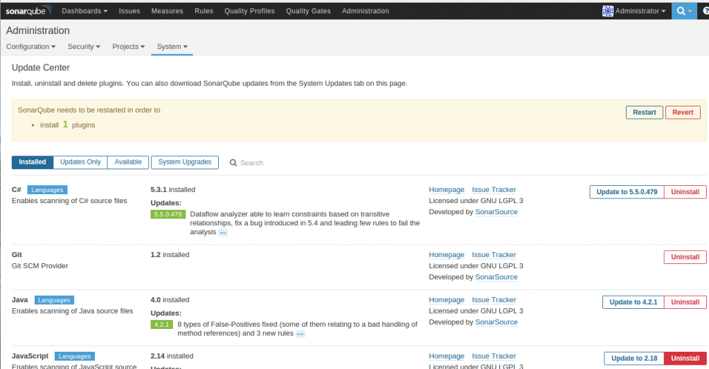 SonarQube Update Center