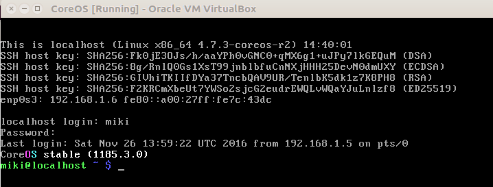 coreOS first boot