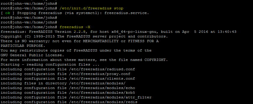 running freeradius in frontend