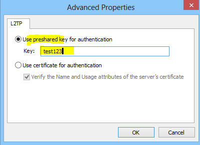setting presharedkey for authentication of client
