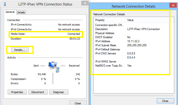 status of vpn connection