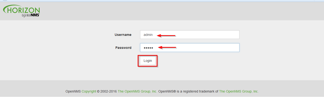 Opennms login page