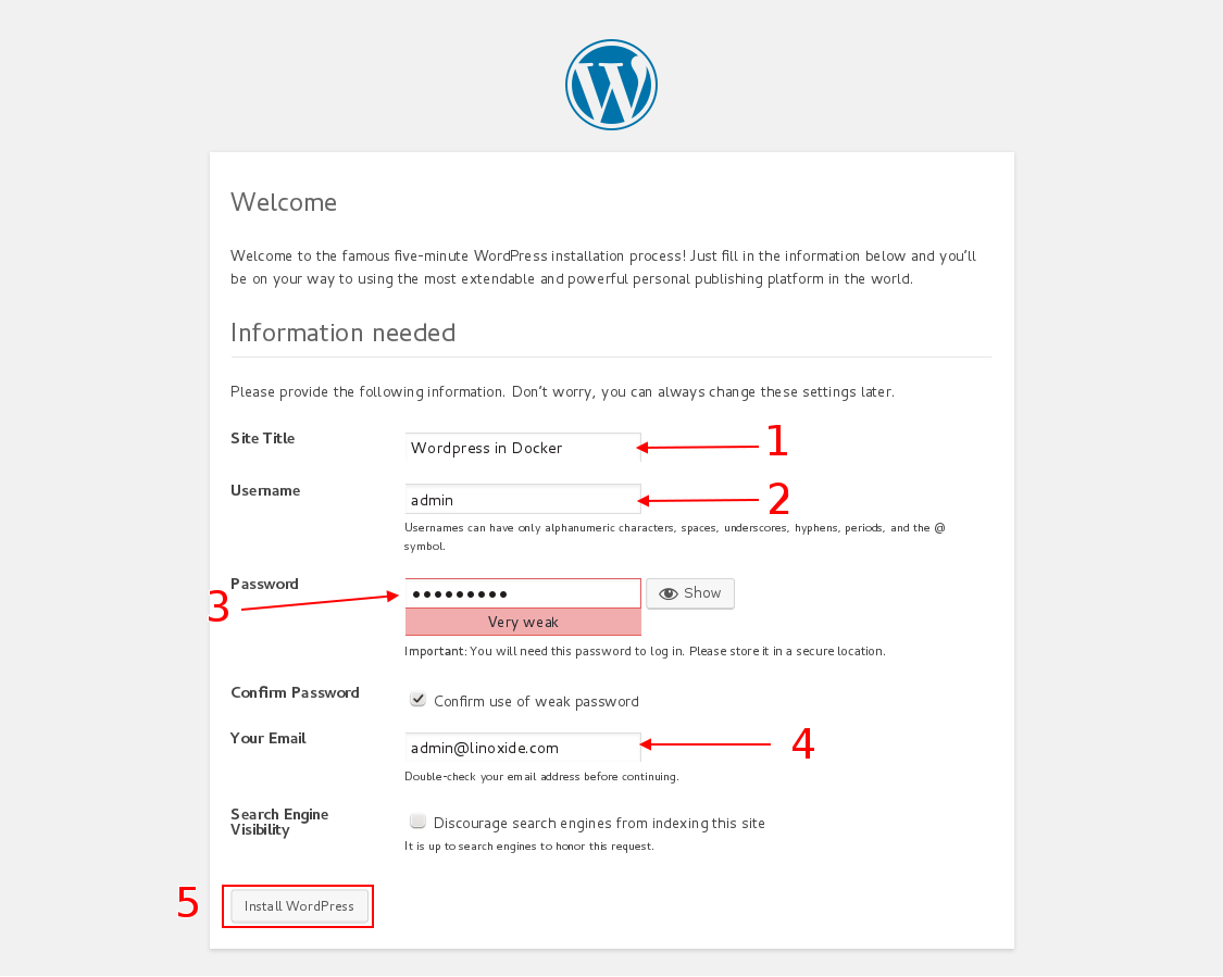 Wordpress site settings