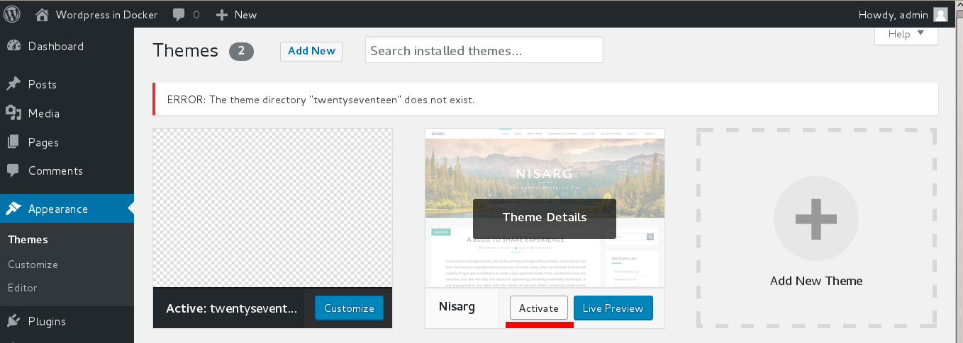 Wordpress activate nisarg theme