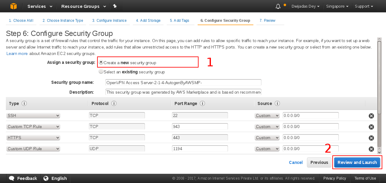 Create Security group for EC2 instance