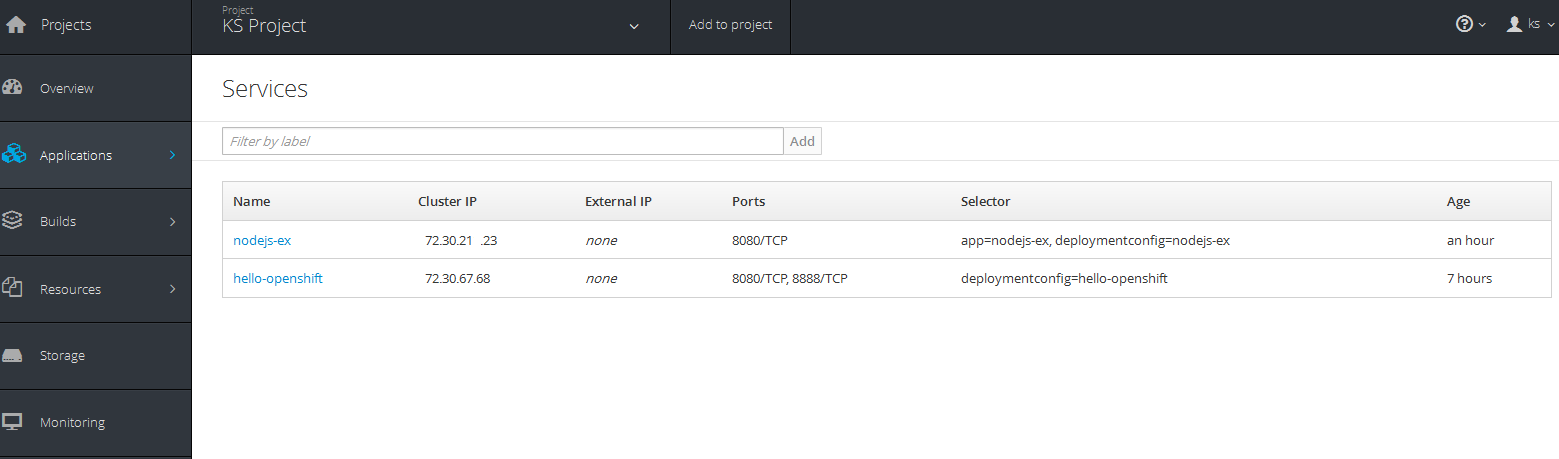 openshift apps view