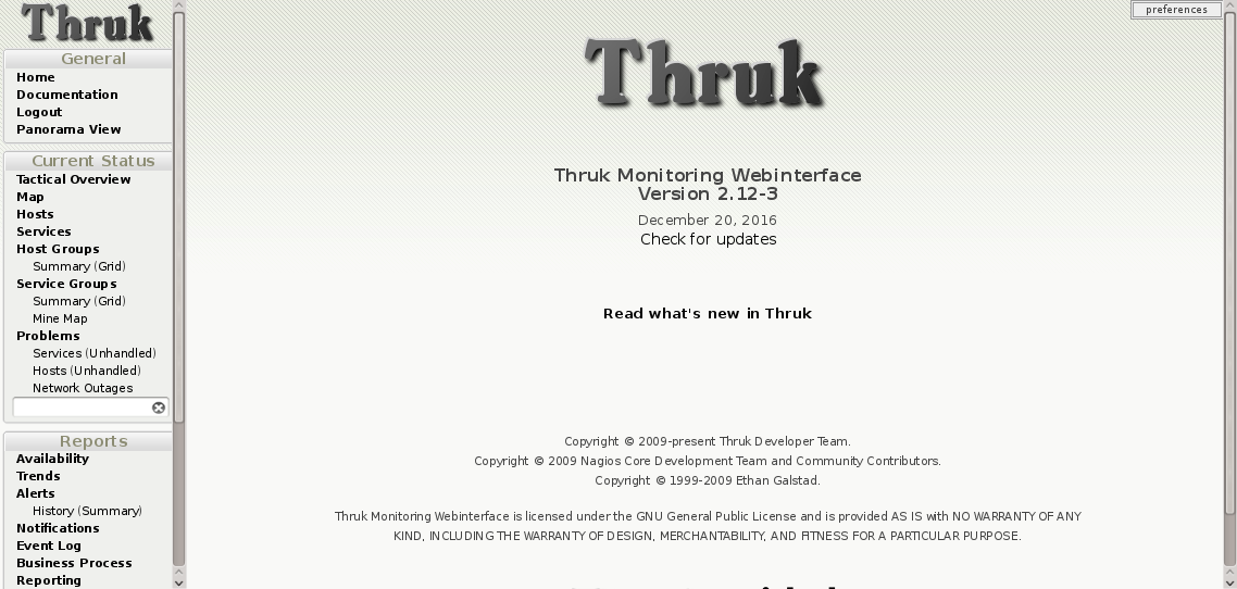 Thruk monitoring interface