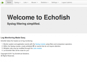 Echofish welcome screen