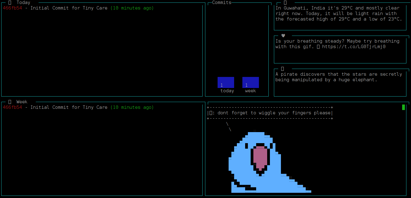 Tiny Care Terminal - Dashbaord Tool to show Tweets, Git Commits and