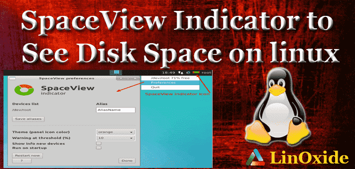 SpaceView Indicator Disk Space Linux