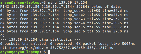 ping success after reboot