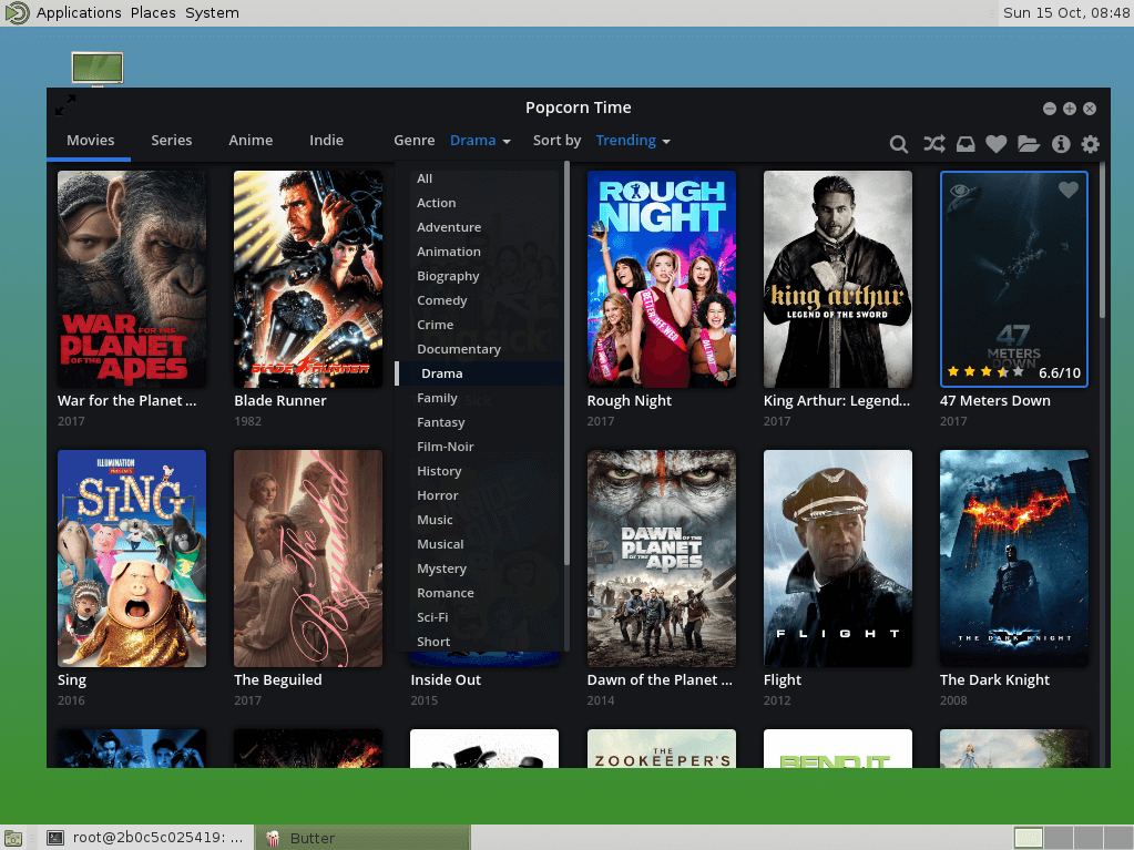 Popcorn time home screen