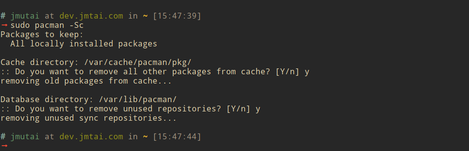 Remove Cached Packages on Arch
