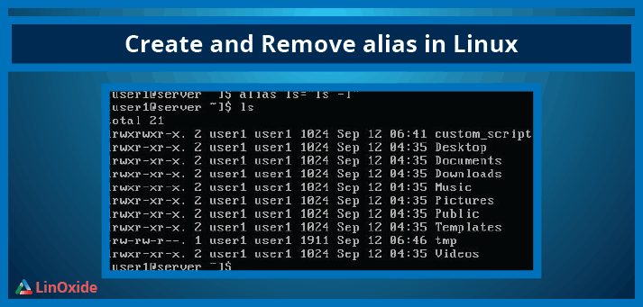 create remove alias linux