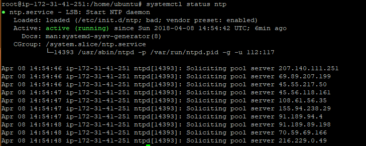 Synchronize time using NTP server