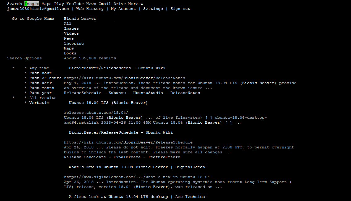 browse the internet on command line