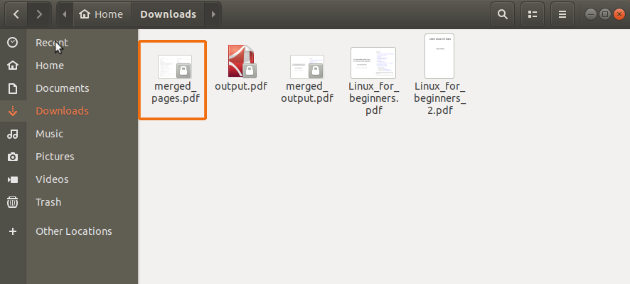 merge PDF documents in Ubuntu 18.04