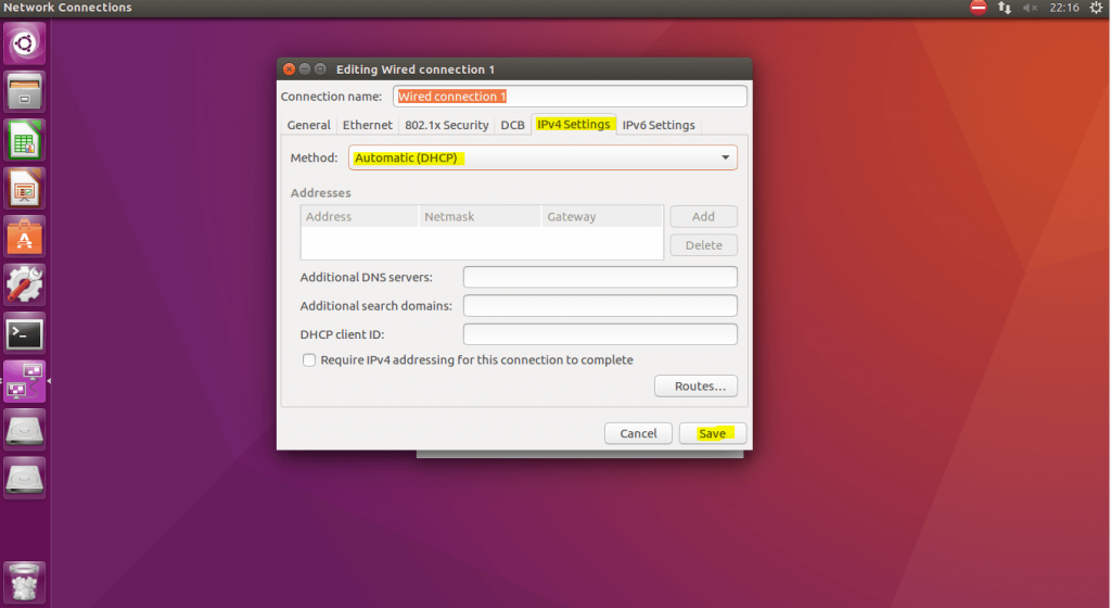 Ubuntu18 DHCP settings