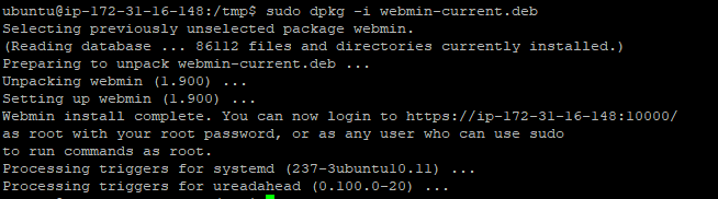 install and secure webmin on Ubuntu