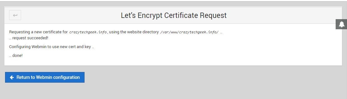 webmin requesting new certificate